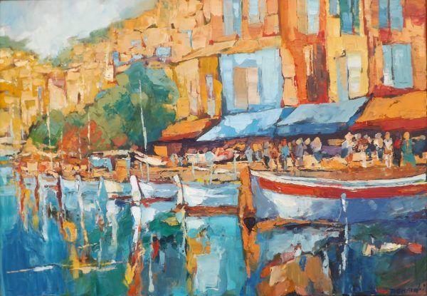 Roman Gruszecki Port Cassis, 100x70, olej na płótnie