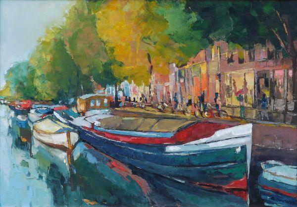 Roman Gruszecki - barka w Amsterdamie