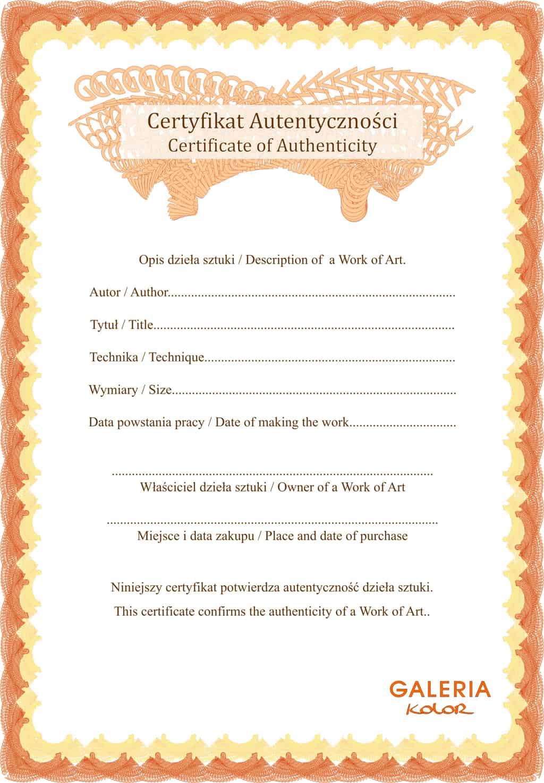 Certyfikat Autentyczności Galerii Kolor